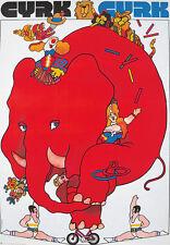 Original Vintage Poster Swirzy Cyrk Elephant Circus Bike Clown Acrobat
