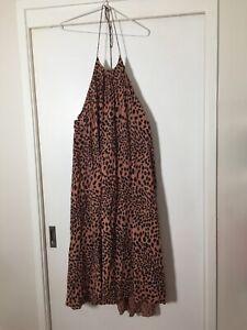 Zimmermann-Ladies-Tan-Brown-Leopard-Print-Halter-Neck-Dress-Size-0-Stretch-Rayon