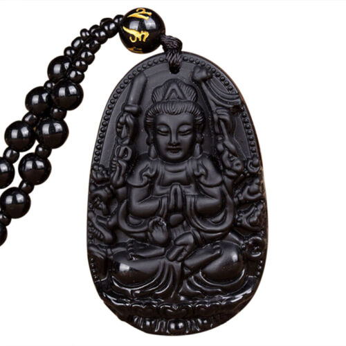 Natural Obsidian Folk Hand Carved Buddha Lucky Amulet Talisman Pendant NecklaceS