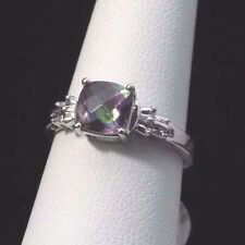 Vintage 10k Solid White Gold diamond accent Mystic Topaz cushion Ring size 7