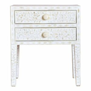 Miraculous Details About Bone Inlay Handmade White Floral Wooden Antique Bedside Table Download Free Architecture Designs Oxytwazosbritishbridgeorg