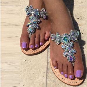 Diamond Jeweled Sandals Flat Flip Flop Drag Queen Chained Plus Size Women Shoes