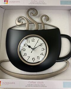 NEW-INTERIORS-By-DESIGN-BLACK-Coffee-Cup-amp-Saucer-Steam-Wall-Clock-Kitchen-Decor