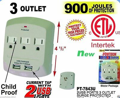 6 Outlet Power Surge Protector Wall Tap w// 2 USB Ports 2.4A 540 Joules