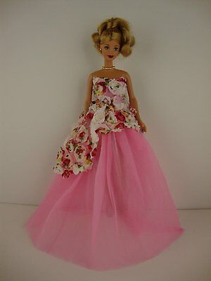 Multi Colored Rose Gown with Pink Tulle Skirt Made to Fit Barbie Doll