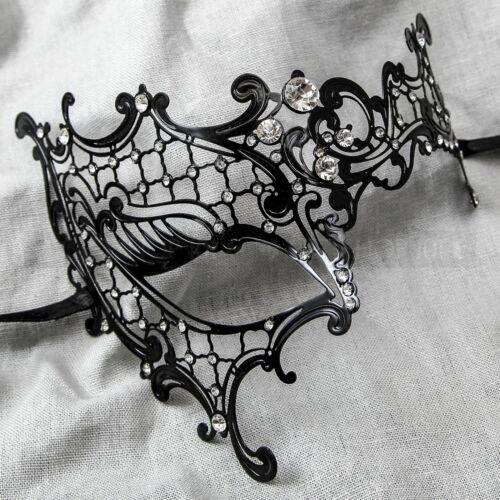 Women Laser Cut Phantom of the Opera Half Face Luxury Masquerade Mask Black