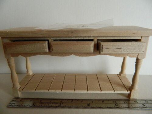 échelle 1//12th maison de poupées barewood trois tiroirs table H25