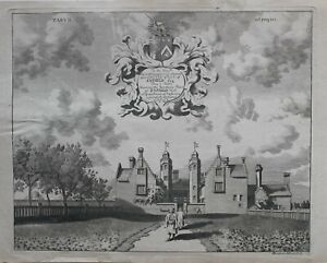 c1686-ANTIQUE-PRINT-SOUTHERN-FRONT-OF-ENFIELD-HALL
