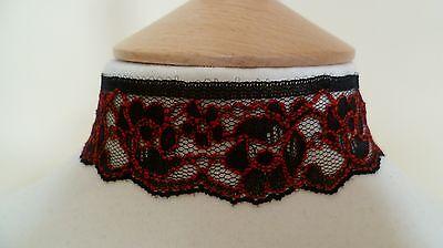 Negro y Rojo Encaje Collar Gargantilla Gótico Pagano Medieval Wicca Boda