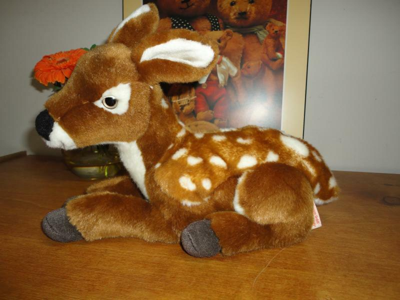 Hermann Germany Laying Fawn Deer Plush Retirosso