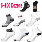 5~100 Dozens Men USA Logo Gray White Black Ankle Socks Wholesale Lot 9-11 10-13