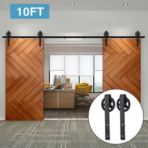 Image Is Loading 10ft Double Sliding Barn Door Hardware Black Wood