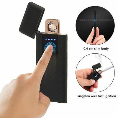 Briquet Electrique Dual Face USB Rechargeable Coupe-Vent sans Flamme Noir Lucid