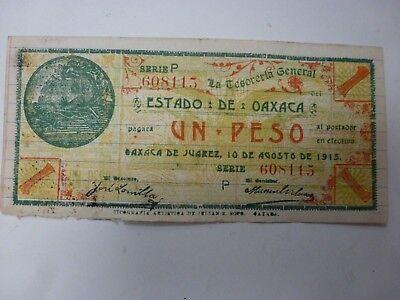1913 $1 PESO EL ESTADO DE OAXACA MEXICO VINTAGE NOTE DENIERO Serie P