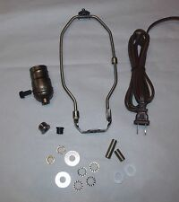 "ANTIQUE BRASS LAMP REPAIR REFURBISH KIT ~ 3 WAY Socket and 6"" Harp ~ by PLD"