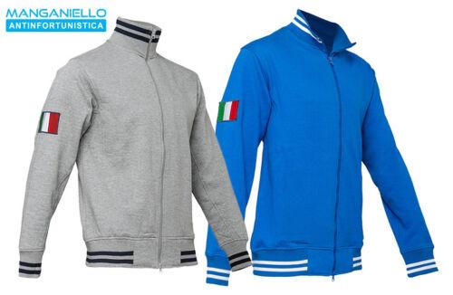 Felpa da lavoro uomo invernale grigia royal zip intera italia tricolore
