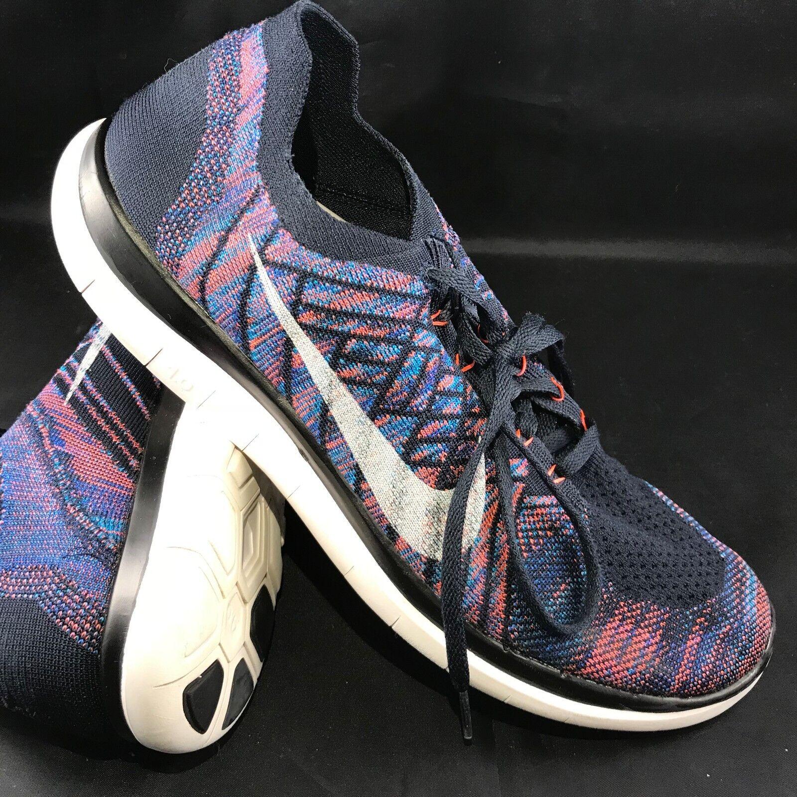 Nike Free 4.0 Flyknit 717075-401 Dark Obsidian/Summit White/Hot Lava Men's Shoes