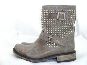f80162a4f0c Details about STEVE MADDEN MONICA USED 7.5 M STUDDED ZIP LEATHER TAUPE MID  CALF BOOTS/BOOTIES