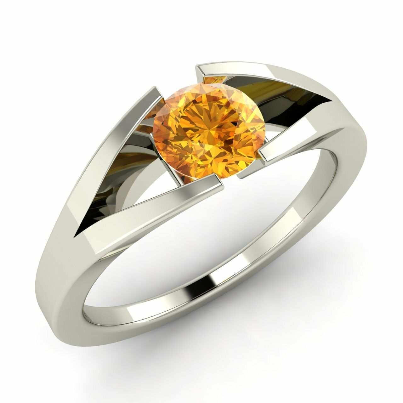 f456055cf Certified 0.35 Ct Natural Citrine 14k Solid White gold Solitaire Engagement  Ring