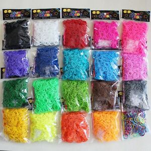 13800 (23 x 600) Rubber Loom Bands Refills DIY Rainbow Colors With S-Clips