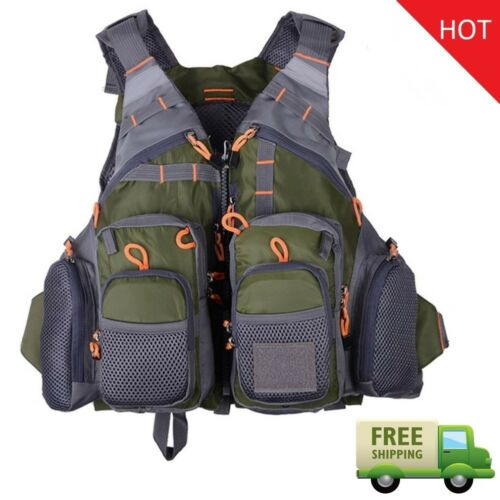 Fly Fishing Vest Multi functional Outdoor Quick Drying Mesh Multi-Pockets Jacket