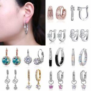 Fashion-Women-Crystal-Zircon-Hoop-Earrings-Dangle-Drop-Statement-Party-Jewelry