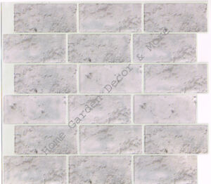 Peel Stick Wall Tile Kitchen Bathroom Backsplash Natural Gray Stone