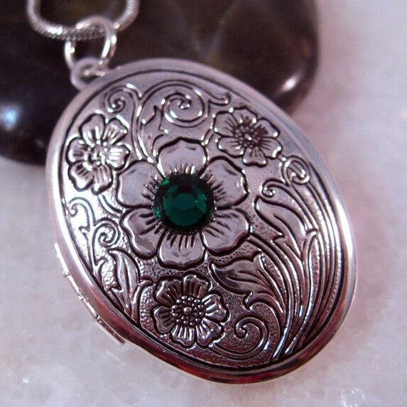 Emerald Crystal Flower Oval Silver Picture Locket Pendant Necklace