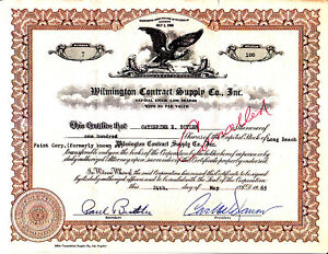 Wilmington-Contract-Supply-Co-CA-1965-Stock-Certificate