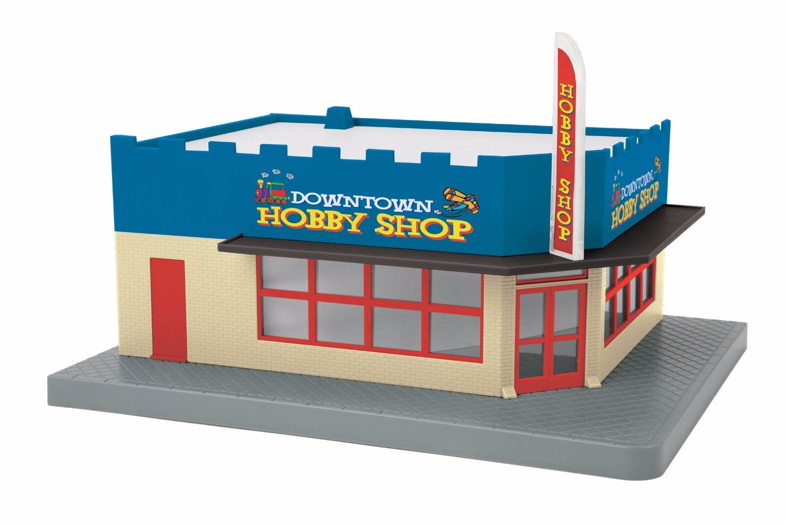 MTH 30-90451, O Gauge, Single Story Corner Store - Downtown Hobby Shop