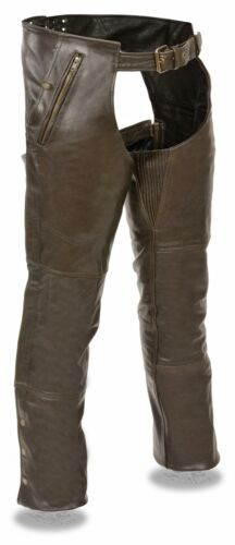 Men/'s Brown Leather Chap w// Removable Thermal Liner Thigh Stretch and 4 Pockets
