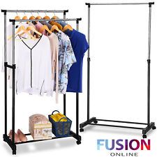 Heavy Duty Garment Rack Clothes Rail Coat Rail Storage Adjustable Portable Stand