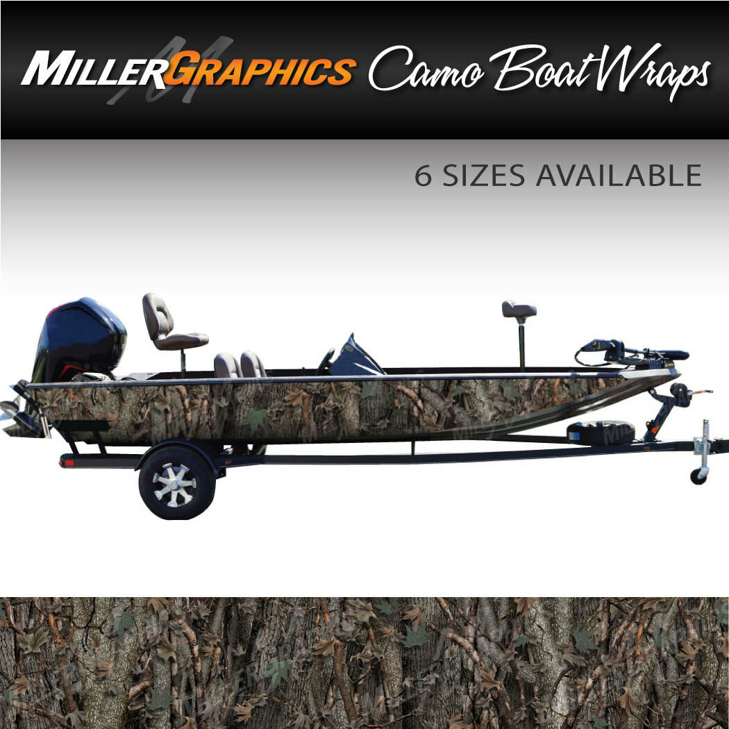 Camo Boat Wrap Kit  Oak Ambush  3M Cast Vinyl - 6 Sizes Available