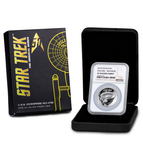 2016 P Tuvalu Star Trek USS Enterprise 1 oz Silver $1 HR NGC PF70 UC SKU58613