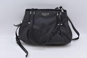 Simply Vera Wang Buena Satchel Purse Faux Leather, Black
