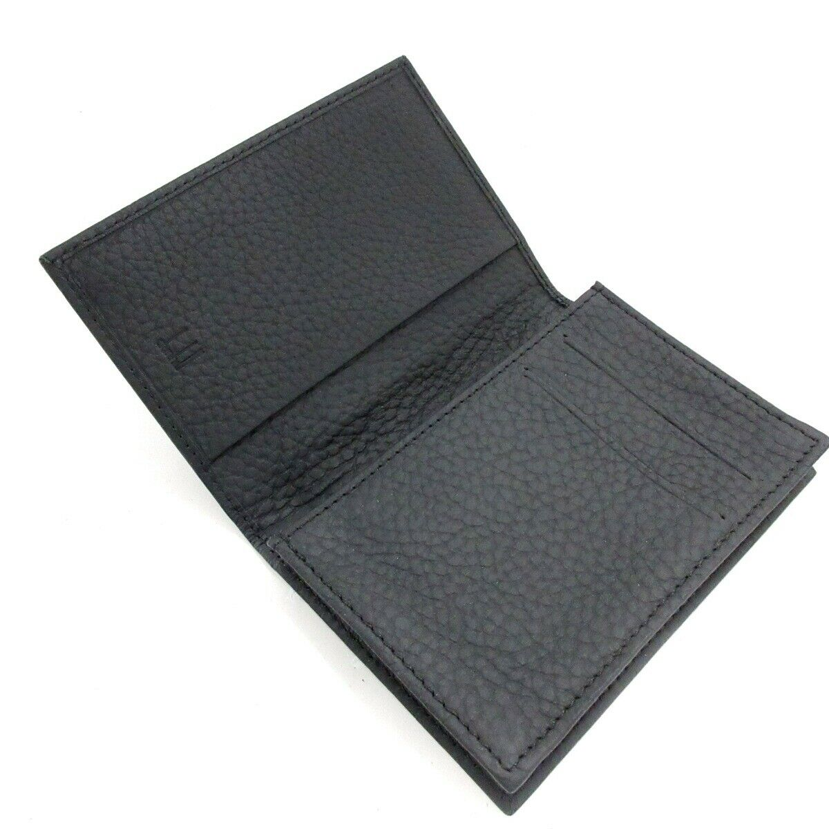 Auth dunhill/ALFREDDUNHILL Black Leather Business Card Holder