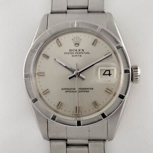 Rolex-Men-039-s-Oyster-Perpetual-Date-1501-Stainless-Steel-Engine-Turned-Bezel-Watch