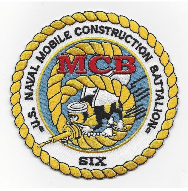 US NAVAL MOBILE CONSTRUCTION BATTALION SIX MILITARY PATCH NMCB 6 SEABEE