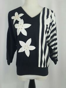 VTG-80s-Lilly-Of-California-Black-White-Graphic-Bat-Wing-Sleeve-Tee-Shirt-Top-M