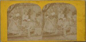 Giardinaggio Scena Da Genere Francia Foto Stereo Vintage Albumina c1870