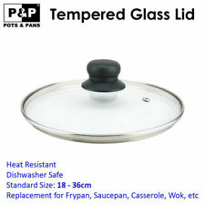 Fry Pan Pot Wok Cover Replacement Tempered Standard Round Glass Lid 16cm 36cm