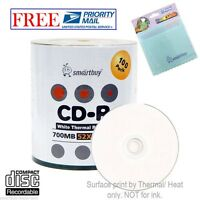 100 Smartbuy 52x Cd-r 700mb White Thermal Printable Disc +free Micro Fiber Cloth