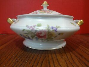 Rosenthal Continental Bavaria Ivory Covered Bowl -Floral- Gold Rimmed ~ FAST S/H