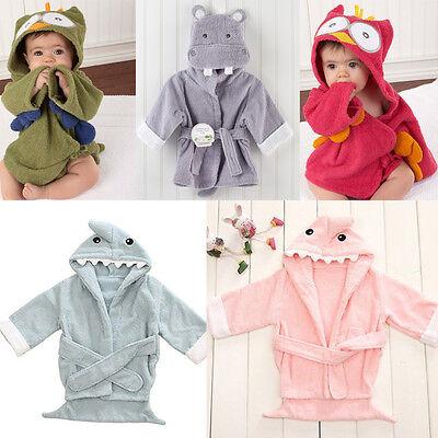 Lovely Animal Hippo Owl Shape Baby Kid Child Bathrobes Bath Towel Cotton 0-24M