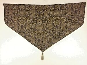 Pair-CROSCILL-Jacobean-Ascot-DAMASK-VALANCES-Tassel-Lined-BROWN-ROD-40-034-X-21-034