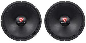 2-Rockville-RVW1500P8-3000w-15-034-Raw-DJ-Subwoofers-8-Ohm-Subs-70OZ-Magnet