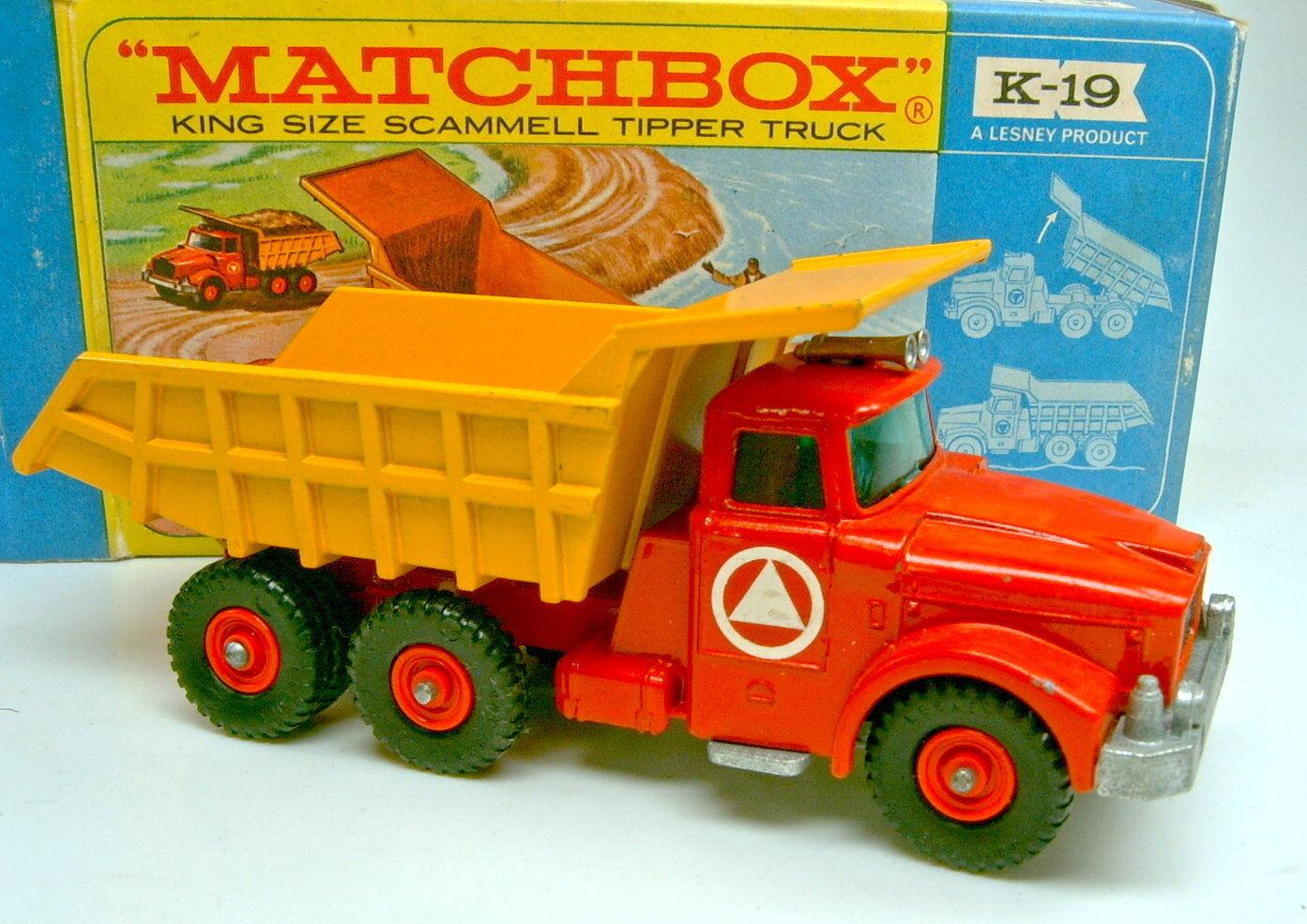 Matchbox KingDimensione k-19a scammel tipper Truck muy bien en Box