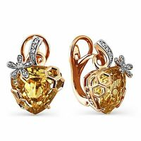 585/14ct Russian Gold Honey Quartz And Diamonds Leverback Earrings Gift Boxed