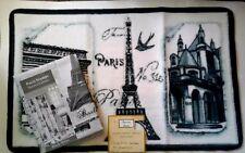 Paris Eiffel Tower Fabric Shower Curtain and Hand Carved Bath Mat