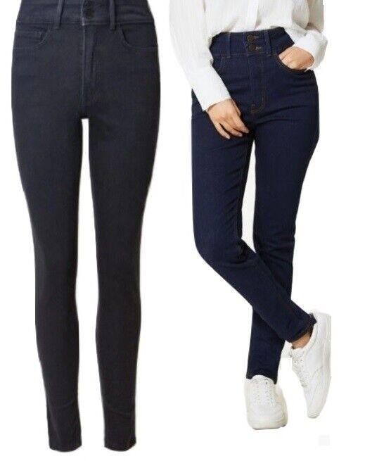Ex M/&S Ladies Sculpting Denim Skinny Jeans Per Una Mid Rise Stretch Slim Womens